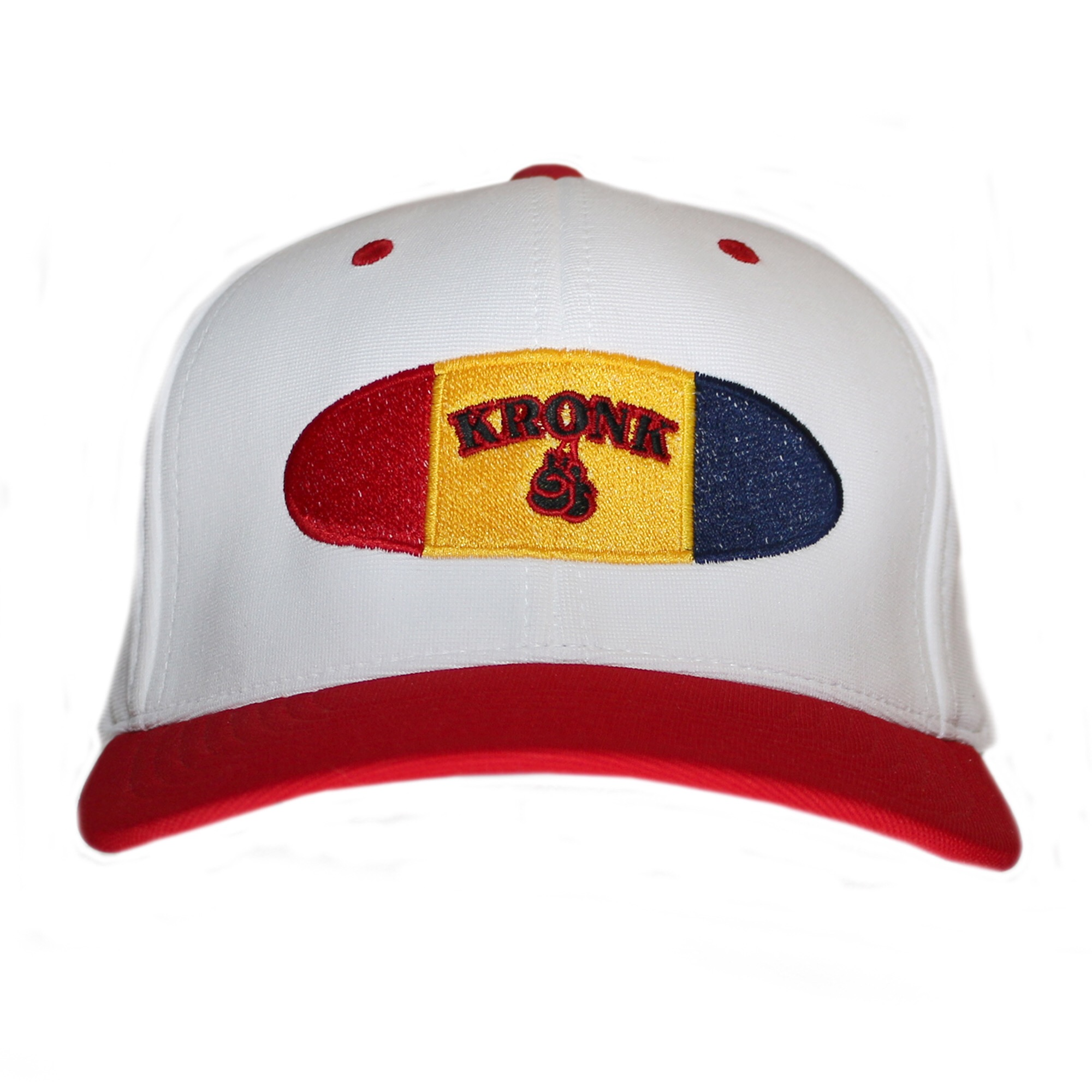white kronk cap with red bill