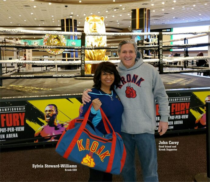 Sylvia Steward-Williams, Kronk CEO & John Carey at MGM Grand for Tyson Fury